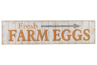 "UTC59403 Wood Rectangle Wall Art with ""Fresh Farm Eggs"" Writing Design and 2 Metal Back Hangers Distressed Finish Beige"