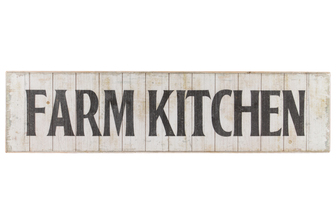 "UTC59404 Wood Rectangle Wall Art with ""Farm Kitchen"" Writing Design and 2 Metal Back Hangers Distressed Finish Beige"