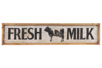 "UTC59406 Wood Rectangle Wall Art with ""Fresh Milk"" Writing Design and 2 Metal Back Hangers Distressed Finish White"