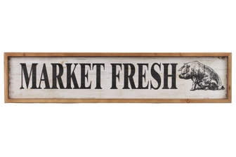 "UTC59408 Wood Rectangle Wall Art with ""Market Fresh"" Writing Design and 2 Metal Back Hangers Distressed Finish White"