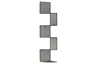 UTC60172 Metal Corner Shelf with 5 Tiers and Perforated Surface and Backing LG Coated Finish Dark Gray