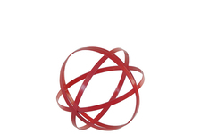 UTC60926 Metal Orb Dyson Sphere Design Decor (4 Circles) Coated Finish Red