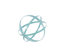 UTC60927 Metal Orb Dyson Sphere Design Decor (4 Circles) Coated Finish Light Blue