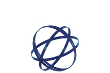 UTC60929 Metal Orb Dyson Sphere Design Decor (4 Circles) Coated Finish Navy Blue