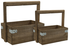 UTC61000 Wood Rectangle Planter with Top Handle Set of Two Natural Finish Brown