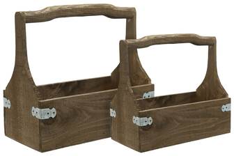 UTC61001 Wood Rectangle Planter with Top Curve Handle Set of Two Natural Finish Brown