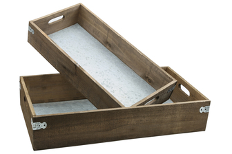 UTC61002 Wood Rectangle Tray with Metal Sheet Inner Surface and Cutout Side Handles Set of Two Natural Finish Brown