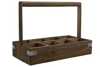 UTC61003 Wood Rectangle Caddy with Top Handle and 8 Slots Natural Finish Brown