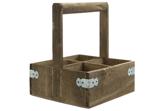 UTC61004 Wood Rectangle Caddy with Top Handle, 4 Slots and Corner Metal Sheet Design Body Natural Finish Brown