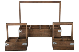 UTC61005 Wood Planters with Top Handle, Multiple Slots and Corner Metal Sheet Design Body Set of Three Natural Finish Brown