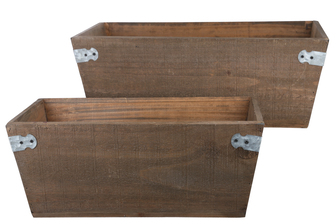 UTC61006 Wood Rectangle Planter Basket with Corner Metal Sheet Design Body and Tapered Bottom Set of Two Natural Finish Brown