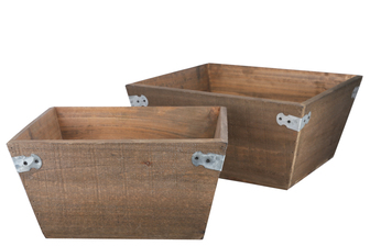 UTC61007 Wood Square Planter Basket with Corner Metal Sheet Design Body and Tapered Bottom Set of Two Natural Finish Brown