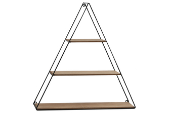 UTC61100 Metal Triangle Wall Shelf with 3 Wooden Shelves Surface Tier and Ring Back Hangers Coated Finish Black