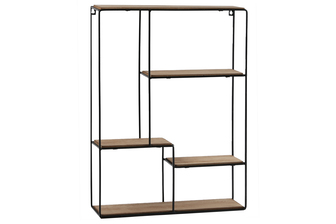 UTC61101 Metal Rectangle Wall Shelf with Top Wood Layer, 4 Wooden Shelves Surface Tier and Keyhole Back Hangers Coated Finish Black