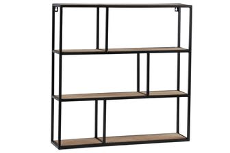 UTC61103 Metal Square Wall Shelf with Top Wood Layer, 6 Wooden Shelves Surface Tier and Keyhole Back Hangers Coated Finish Black