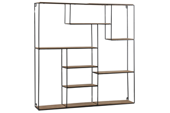 UTC61104 Metal Square Wall Shelf with Top Wood Layer, 9 Wooden Shelves Surface Tier and Keyhole Back Hangers Coated Finish Black