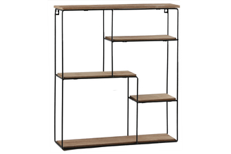 UTC61108 Metal Rectangle Wall Shelf with Top Wood Layer, 4 Wooden Shelves Surface Tier and Keyhole Back Hangers Coated Finish Black