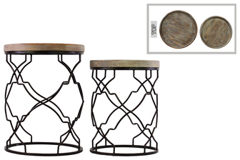 UTC67043 Metal Round Nesting Accent Table with Recessed Wood Top and Round Base Set of Two Coated Finish Black