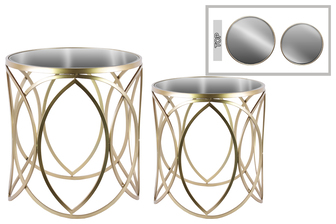 UTC67080 Metal Round Nesting Accent Table with Mirror Top and Swirl Design Set of Two Metallic Finish Champagne