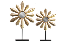 UTC67085 Metal Floral Ornament with Mirror Center and Rectangle Stand Set of Two Metallic Finish Gold