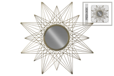 UTC67102 Metal Round Wall Mirror with Compass Rose Shaped Design Coated Finish Champagne