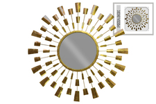 UTC67110 Metal Round Wall Mirror with Radial Burst Design Metallic Finish Gold