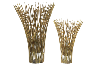 UTC67125 Metal Bamboo Candle holder Set of Two Metallic Finsh Gold