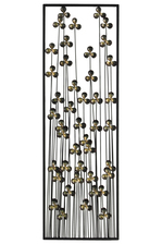 UTC67144 Metal Rectangular Wall Decor with Clover Design Coated Finish Black