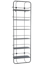 UTC67155 Metal Rectangle Wall Shelf with 6 Tiers, Back Lattice Design and Keyhole Hangers Distressed Finish Dark Gray