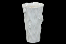 UTC70345 Ceramic Tapered Round Vase with Tree Trunk Design Gloss Finish White