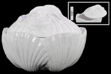 UTC70557 Ceramic 42 oz. Clam Seashell Canister with Lobster Lid Gloss Finish White