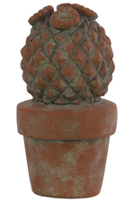 UTC70953 Cement Barrel Cactus Figurine with Flowers on Pot Washed Concrete Finish Brown