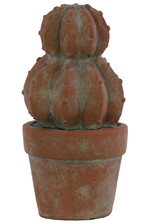 UTC70954 Cement Barrel Cactus Figurine on Pot Washed Concrete Finish Brown