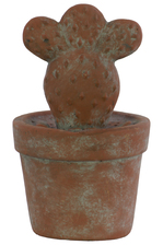 UTC70955 Cement Prickly Pear Cactus Figurine on Pot Washed Concrete Finish Brown