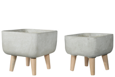 UTC70964 Cement Square Pot with Detachable Wooden Stands Set of Two Washed Concrete Finish Gray