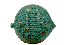 UTC72022 Ceramic Round Fish Figurine LG Distressed Gloss Finish Teal