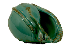 UTC72029 Ceramic Conch Seashell Figurine Distressed Gloss FInish Teal
