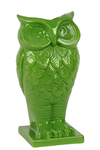 UTC73071 Ceramic Owl Figurine/Vase on Base Gloss Finish Lime Green