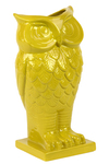 UTC73072 Ceramic Owl Figurine/Vase on Base Gloss Finish Lime Amber