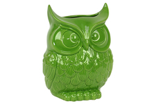 UTC73073 Ceramic Owl Figurine/Vase LG Gloss Finish Lime Green