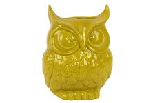 UTC73074 Ceramic Owl Figurine/Vase LG Gloss Finish Yellow
