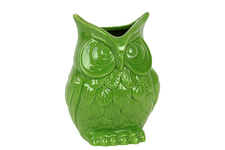 UTC73077 Ceramic Owl Figurine/Vase SM Gloss Finish Lime Green
