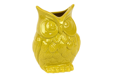 UTC73078 Ceramic Owl Figurine/Vase SM Gloss Finish Amber
