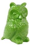 UTC73084 Ceramic Owl Figurine Gloss Finish Lime Green
