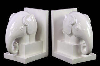 UTC73109 Ceramic Elephant Bookend on Box Stand Set of Two Gloss Finish White
