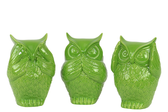 UTC73147-AST Ceramic Owl No Evil (See/Hear/Speak) Figurine Assortment of Three Gloss Finish Lime Green