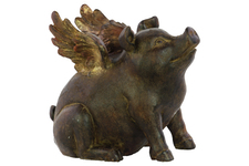 UTC73152 Resin Sitting Winged Pig Figurine Matte Finish Espresso Brown