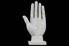 UTC73201 Polyresin Palmistry Hand Sculpture on Base with Engraved Labels Matte FInish White