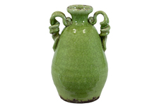 UTC76037 Ceramic Round Bellied Tuscan Vase with 2 Looped Handles Craquelure Distressed Gloss Finish Yellow Green