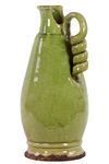 UTC76038 Ceramic Round Bellied Tuscan Vase with Coiled Handle Craquelure Distressed Gloss Finish Yellow Green